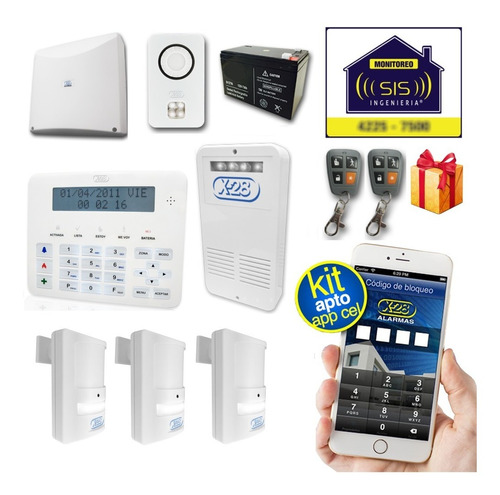 Imagen 1 de 5 de Kit Alarma Domiciliaria X28 Casa Llamador Celular Gsm Comando Via App Celular
