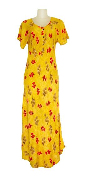 Vestido Longo Indiano Estampado Em Viscose Plus Size
