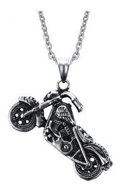 Colar Em Aço Inoxidável Com Pingente Motorcycle Ghost Rider