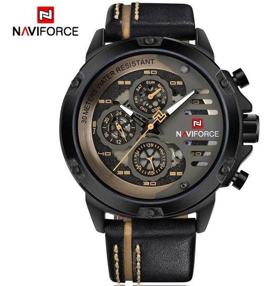 Relógio Masculino Naviforce 9110 Couro Calendário Completo
