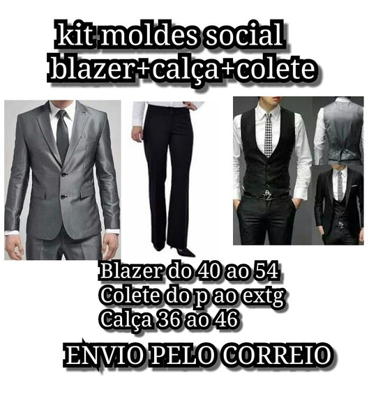 Kit Moldes Blazer+camisa+colete+calca Ad. E Inf Por Correios