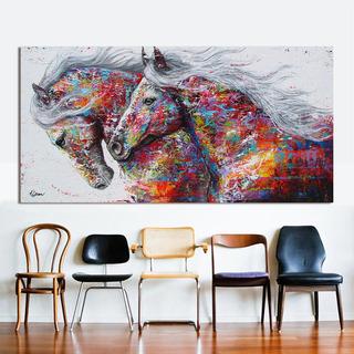 2 Caballos Corriendo Arte De La Pared Cuadro Lienzo Pintura