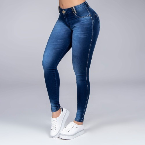 Calça Pit Bull Jeans Com Strass Levanta Bumbum Cós Alto