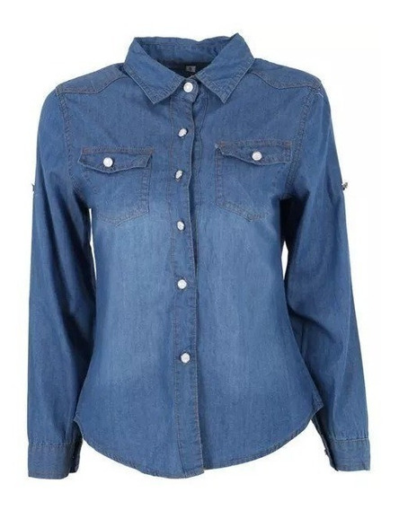 #lote 2 Camisas Jeans Feminina Blusas Escuras Claras Atacado