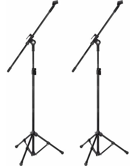 Kit 2 Pedestal P/ Microfone Girafa Tripe + Cachimbos