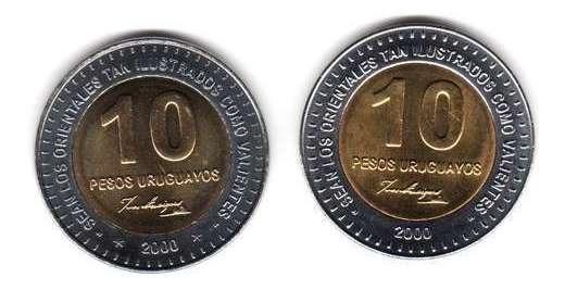 2 Monedas Uruguay Bimetalicas 10 Pesos Año 2000 Diferentes