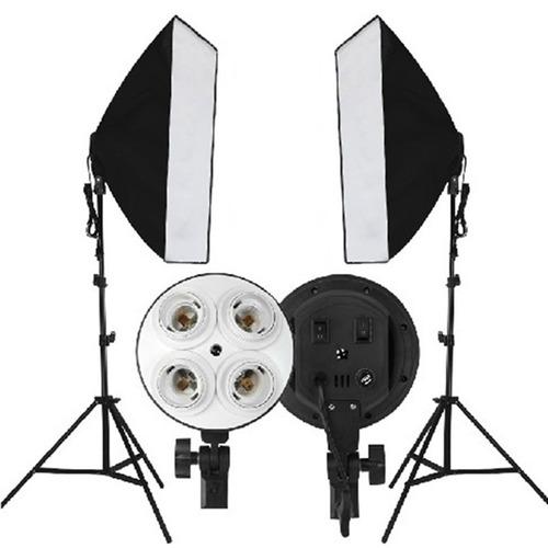 Kit 2 Soft Box 70x50  + 2 Soquete 4 Lampada + 2 Tripe 2m
