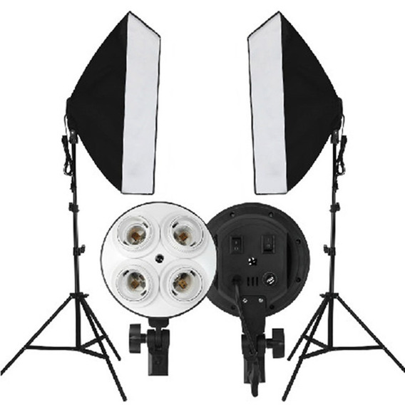Kit 2 Soft Box 70x50 + 2 Soquete 4 Lampada + 2 Tripe 2m