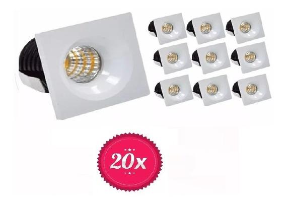 Kit 20 Mini Spot Embutir Teto Led Quadrado 3w Quente