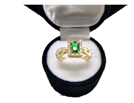 Anel De Formatura Feminino Ouro18k Emblemas Ouro Branco
