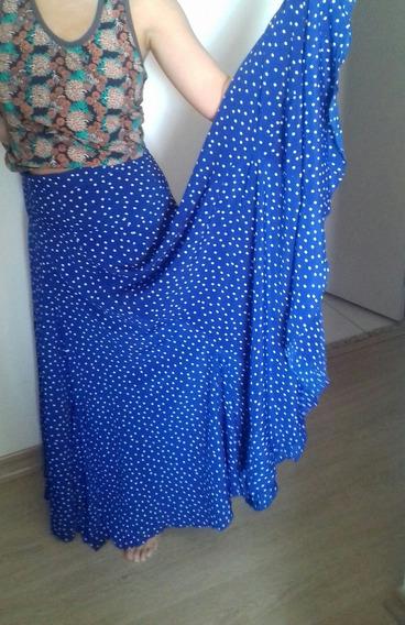 Saia De Dança Flamenca - Azul Com Bolinhas Brancas