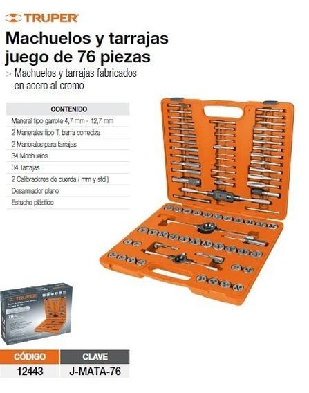 Juego Machuelos Y Tarrajas 76 Piezas Truper 12443