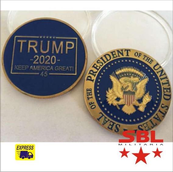 Lindo Presente Moeda Comemorativa Donald Trump 2020 Azul