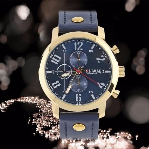 Relógio Currem Masculino Pulseira De Couro Esportivo Militar