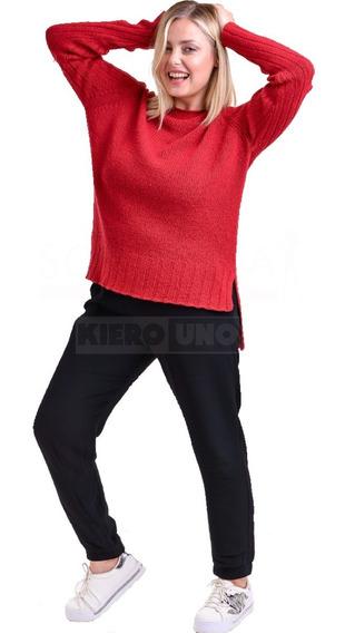 Sweater Largo Mujer Cuello Redondo Lana Saco Rojo Kierouno