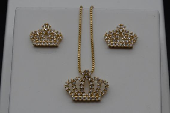 Conjunto Brinco+colar Coroa Cravejada Banhado À Ouro 18k