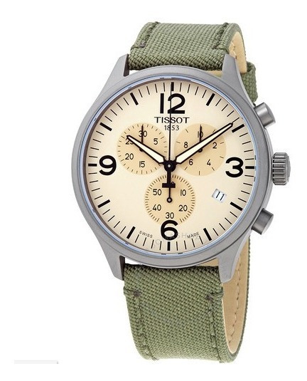 Relógio Tissot Xl Cronógrafo Bege/verde Suíço Masculino 45