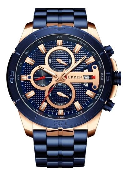 Relógio Curren Pulseira Aço Azul