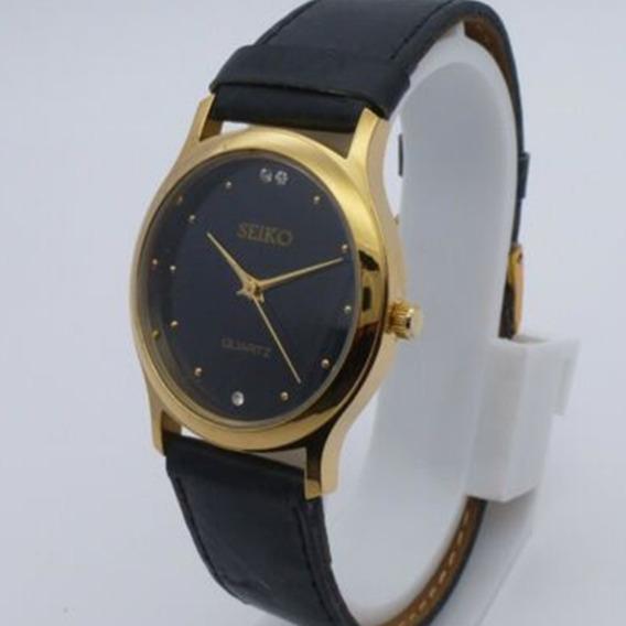 Y) Relógio Seiko Quartz Folheado A Ouro- Unissex- Promoção Oferta