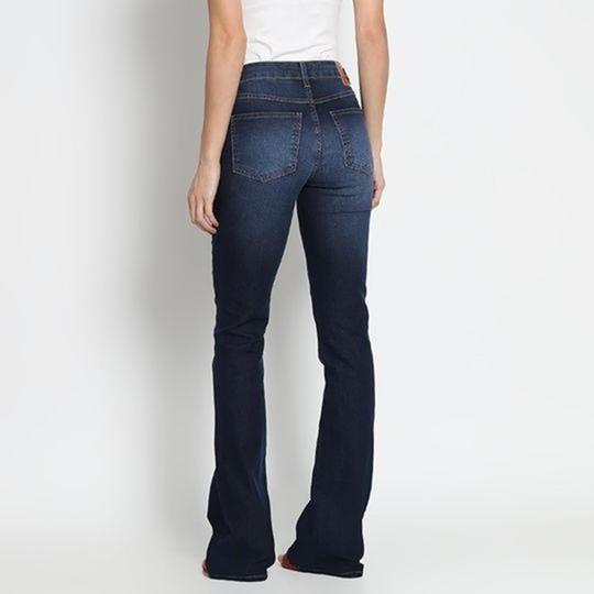 Jeans Flare Estonado - Azul Escuro. - Sommer - 38