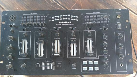 Mixer Dj Radioshack 4 Canais Efeitos Equalizador Usb Usado