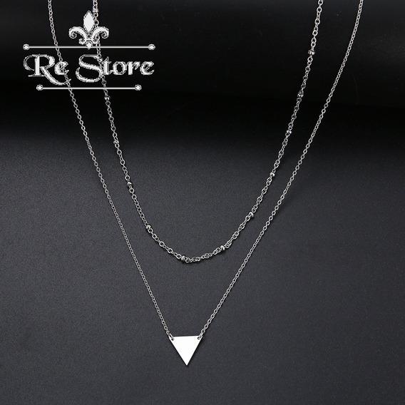 Colar Triângulo E Bolinhas Aço Inoxidável Em Camadas Çl 101