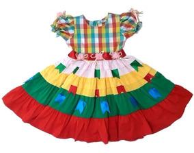 Vestido Festa Junina Infantil Xadrez