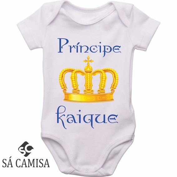 Body Em Ribana Personalizado Principe Com Nome Do Bebe