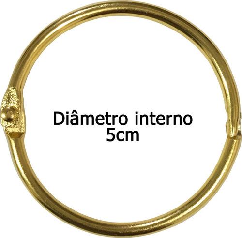 Argola Articulada 5cm 50mm Dourada Pacote Com 10 Unidades