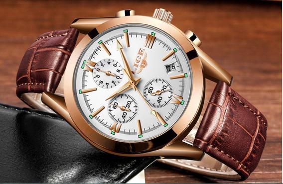 Relógio Luxo Masculino Couro De Quartzo Prova D