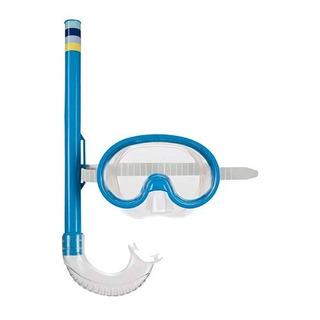 Mascara De Mergulho E Snorkel Infantil Mor Azul
