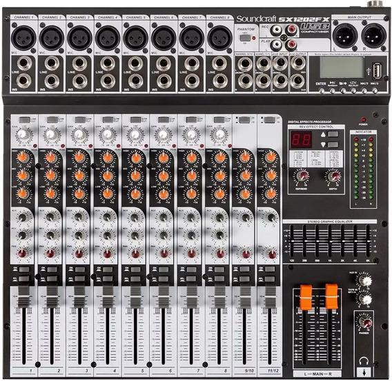 Mesa De Som Analógica Soundcraft Sx1202fx 12 Canais Usb