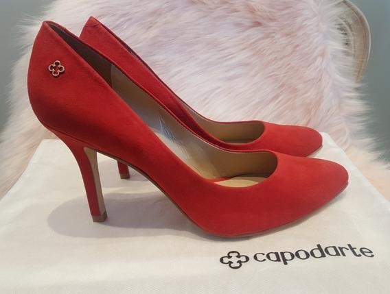 Sapato Scarpin Capodarte Suede Vermelho
