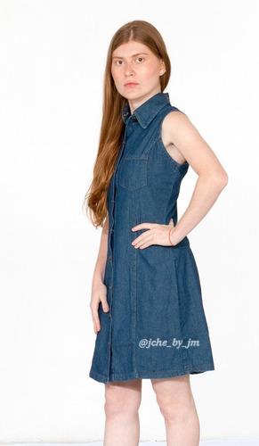 Vestido Jean Sin Mangas Chambray, Casual, Moda, Hermoso