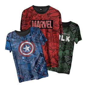 Kit 3 Camiseta Marvel Vingadores Avengers Hulk Ironman