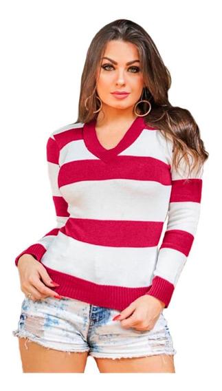 Blusa Tricô Tricot Listrada Feminina Suéter Gola V Ref:954
