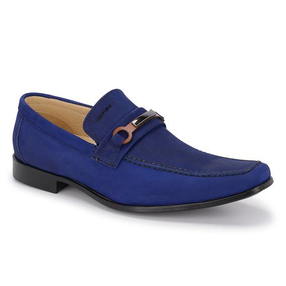 Sapato Social Masculino Esporte Casual Azul Com Fivela 1212