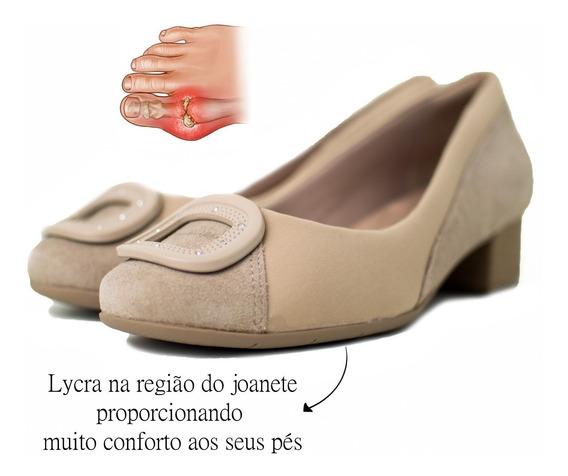 Sapato Feminino Comfortflex Salto Baixo Avelã Preto 1895305