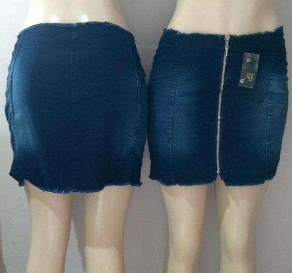 Kit 2 Saias Jeans Cintura Alta Sen Botão Com Ziper Frontal
