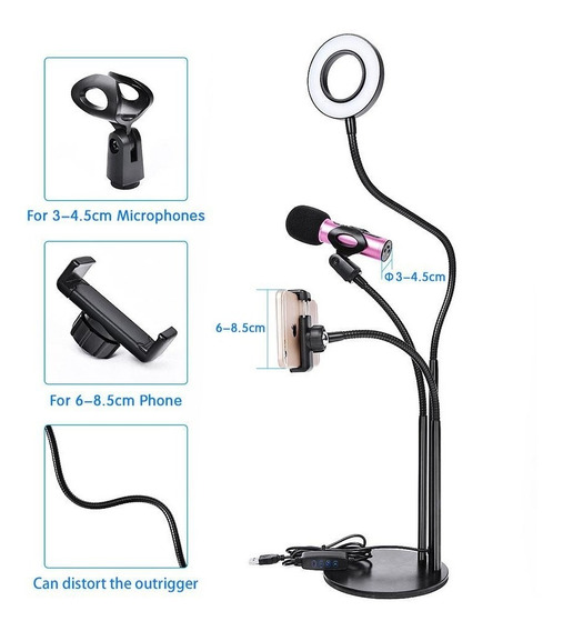 Tripé 3 In 1 Luz De Led Suporte Para Celular E Microfone 12x