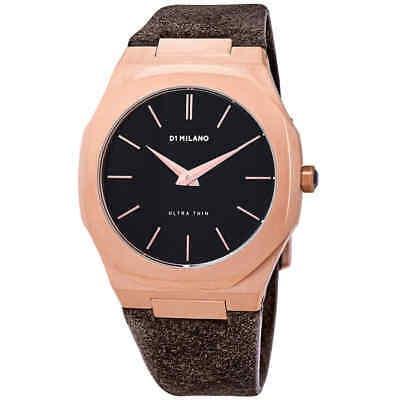 D1 Milano Ultra Thin Black Dial, Reloj De Cuero Marrón Par