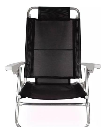 Cadeira De Praia Reclinável Alumínio Mor 2155 Preta