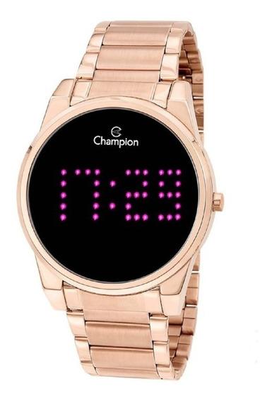 Relógio Champion Feminino Digital Led Ch40053p Rose Negativo