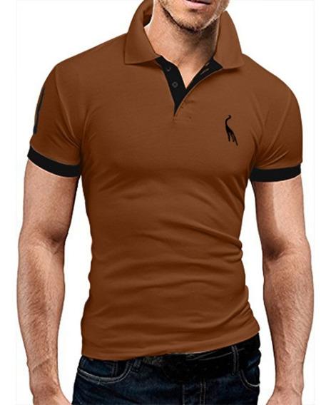 Hombres Manga Corta Casual Bordado Polo Camisetas