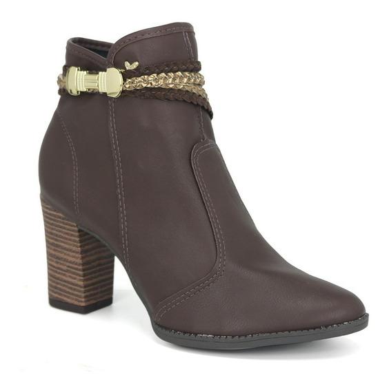 Bota Ankle Boot Cano Curto Feminina Mississipi X7681 Café