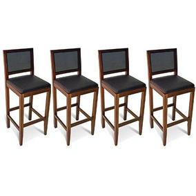 4 Banquetas Encosto Tela Madeira Maciça Mel Assento Estofado