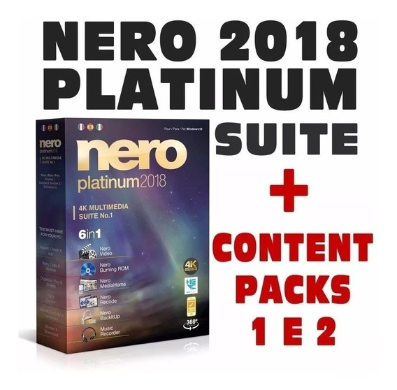 Nero Suite Platinum 2018 Completo + Content Packs 1 E 2