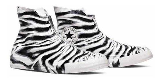 Tenis Converse De Piel Estampado Zebra Con Cierre Nuevos