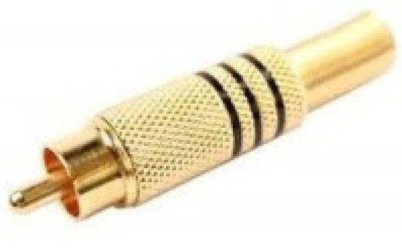Kit 10 Peças - Plug Rca Macho Metalico Dourado Com Mola Pret