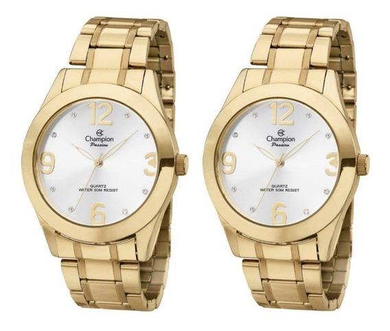Kit 2 Relógios Feminino Dourado Champion Original Ch24268h